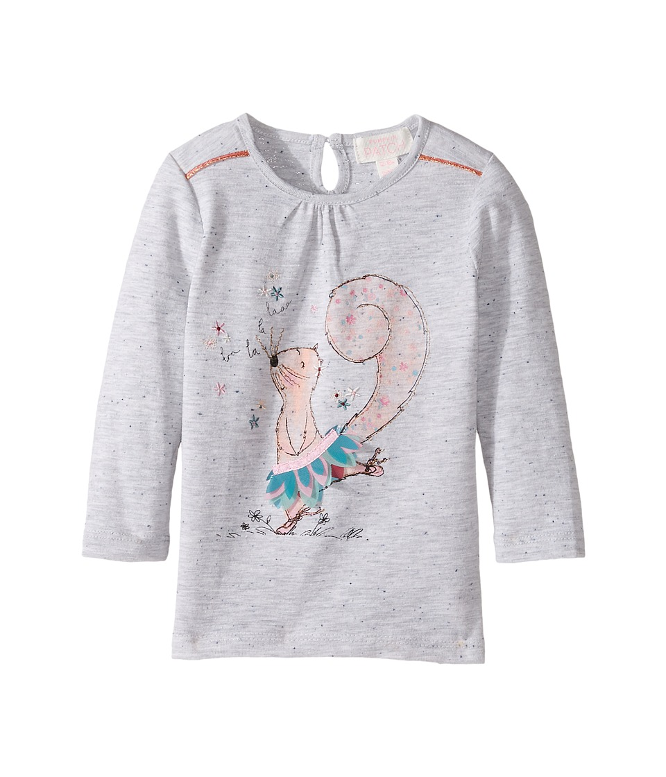 Pumpkin Patch Kids - Dancing Squirrel Top (Infant/Toddler/Little Kids) (Grey Marle) Girl's Clothing