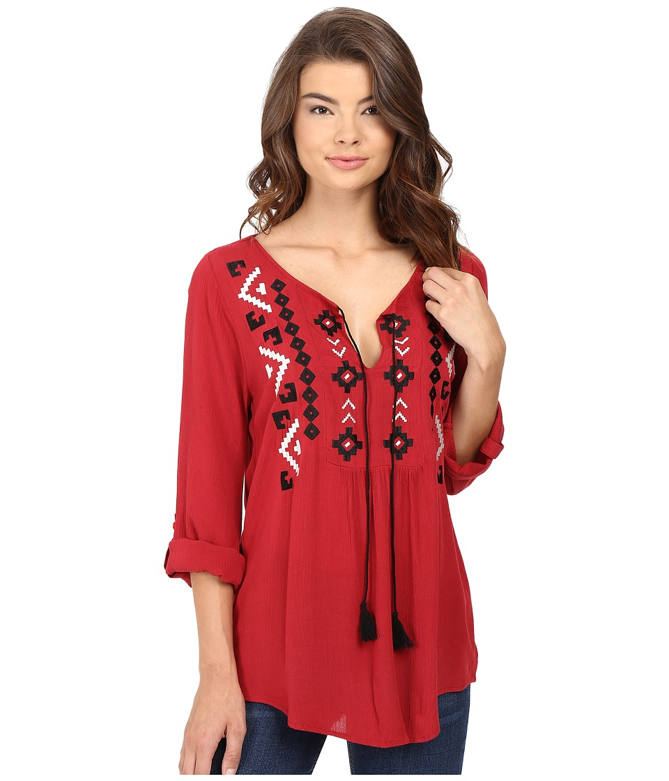 Roper - 0605 Woven Crepe Shirt (Red) Women's Clothing