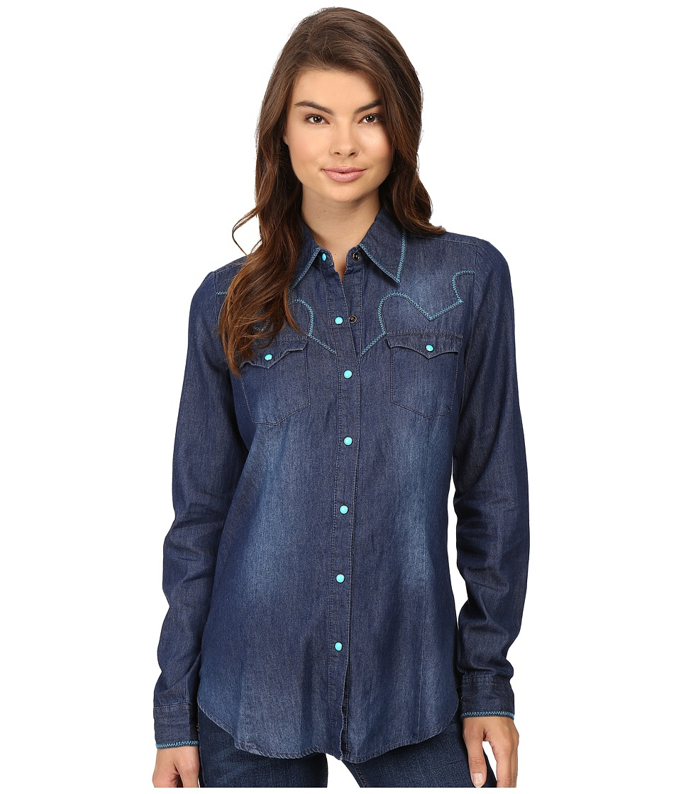 Roper - 0604 5 Oz. Indigo Denim Shirt (Blue) Women's Clothing