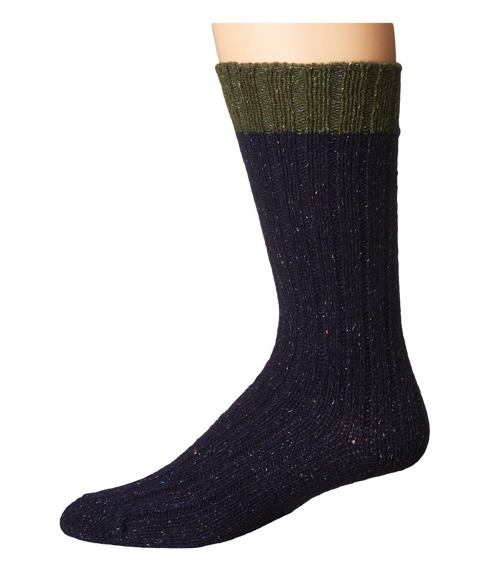 UGG - Classic Color Block Crew Socks (Lodge Green/Navy) Men's Crew Cut Socks Shoes