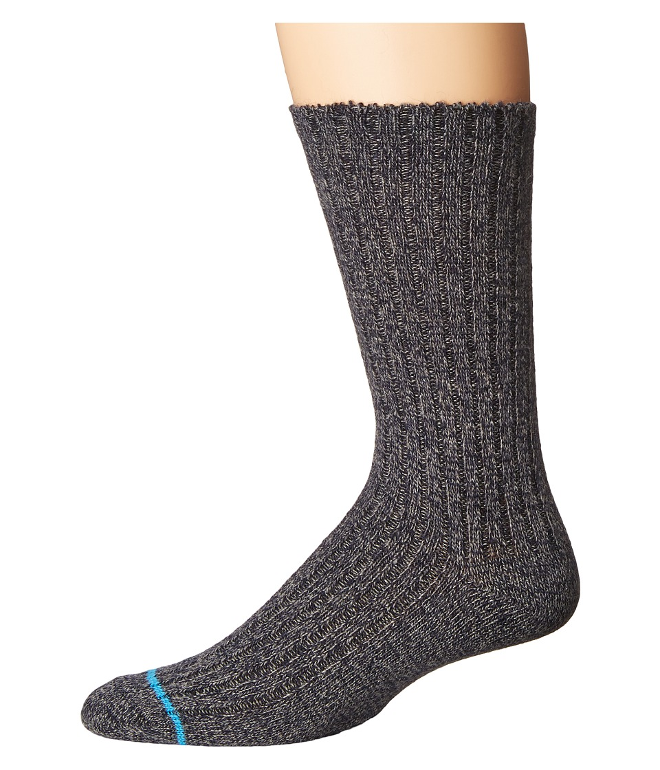 UGG - Classic Heather Rib Crew Socks (Navy) Men's Crew Cut Socks Shoes
