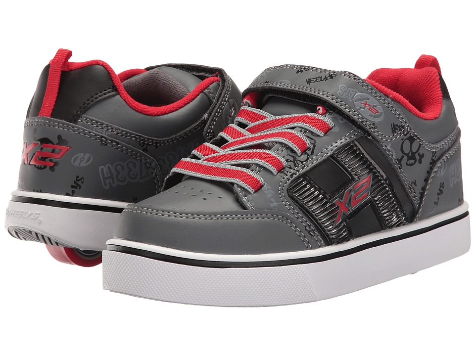 Heelys - Bolt X2 Lighted (Little Kid/Big Kid/Men's) (Black/Grey/Red) Boys Shoes