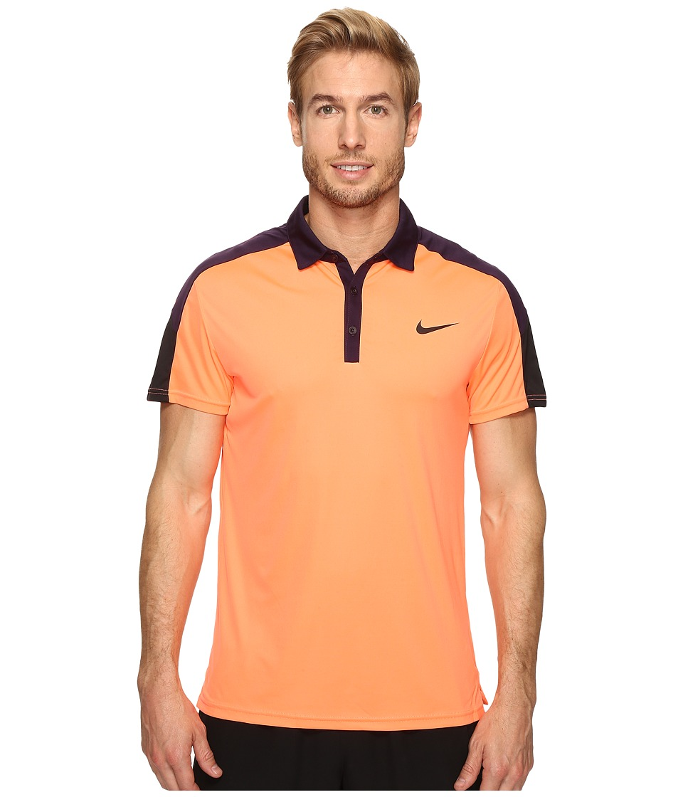 Nike - Team Court Polo (Bright Mango/Purple Dynasty/Black/Black) Men's Short Sleeve Pullover