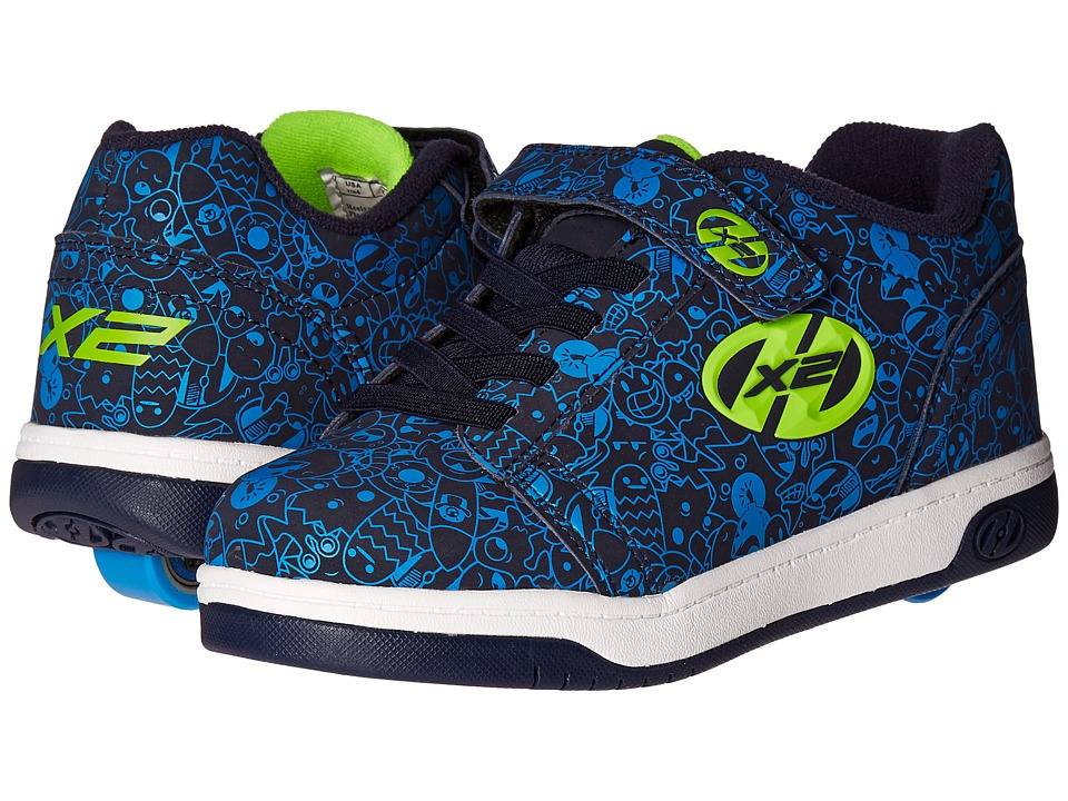 Heelys - Dual Up X2 (Little Kid/Big Kid/Adult) (Navy/Blue/Print) Boys Shoes