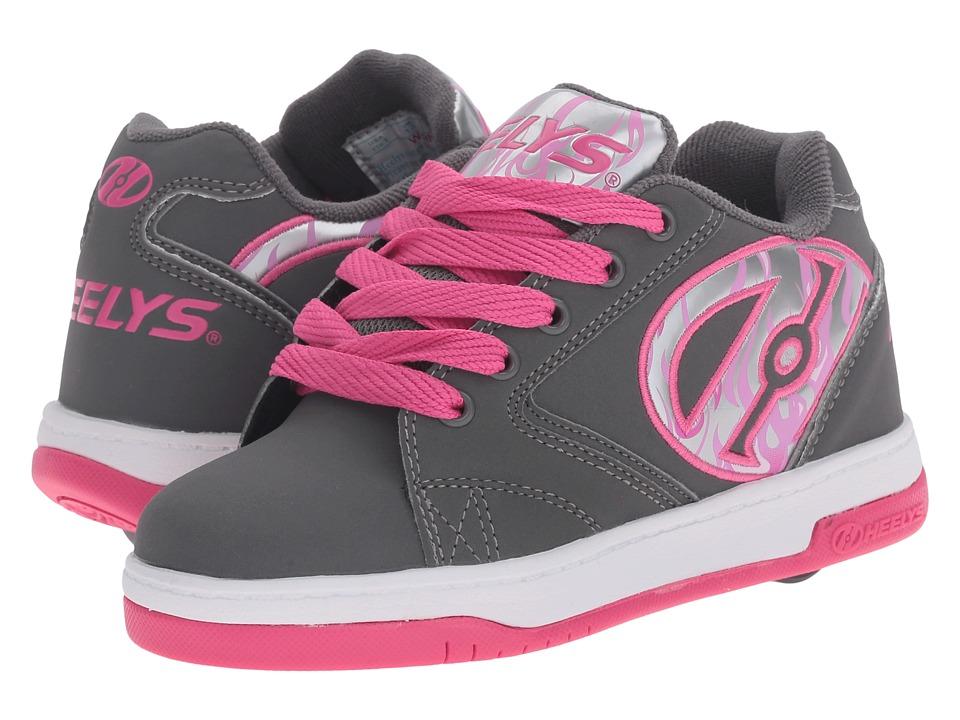 Heelys Propel 2.0 (Little Kid/Big Kid/Adult) (Grey/Pink/Flames) Girls Shoes