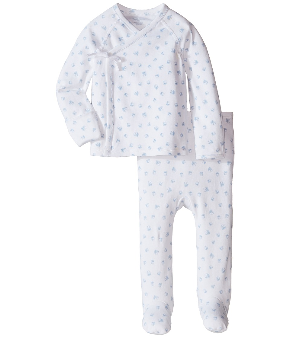 Ralph Lauren Baby - Printed Interlock Print Kimono Two-Piece Pants Set (Infant) (White Multi/Pearl Blue) Boy's Active Sets