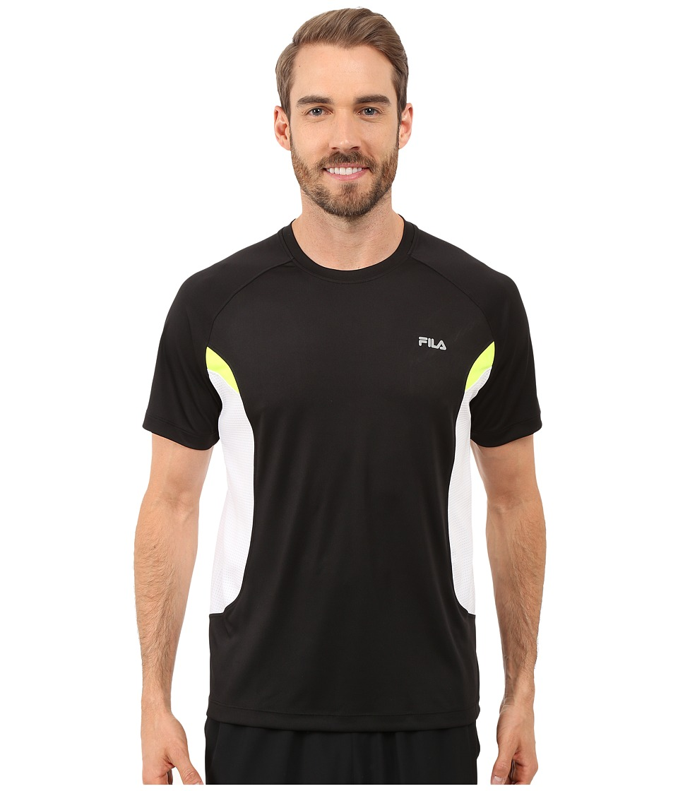 Fila - Game On Crew (Black/White/Safety Yellow) Men's Clothing