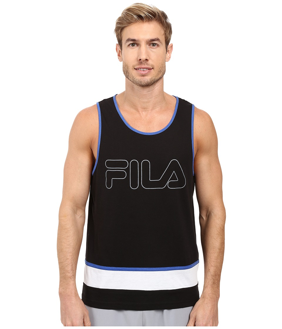 Fila - Retro Tank Top (Black/White/Royal Blue) Men's Sleeveless