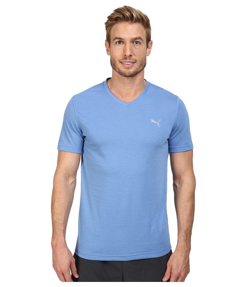PUMA - Essential S/S V-Neck (Blue Yonder) Men's Short Sleeve Pullover