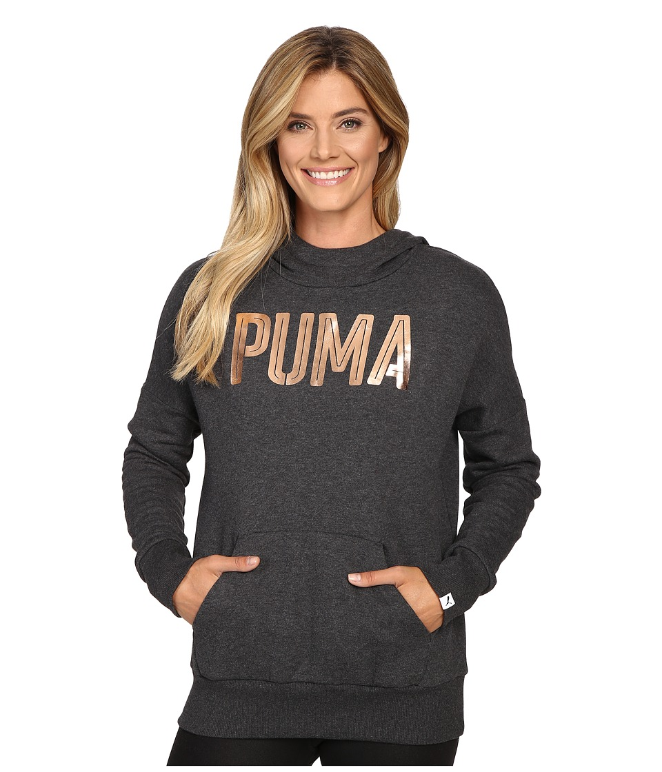 PUMA Style Foil Hoodie (Dark Gray Heather) Women