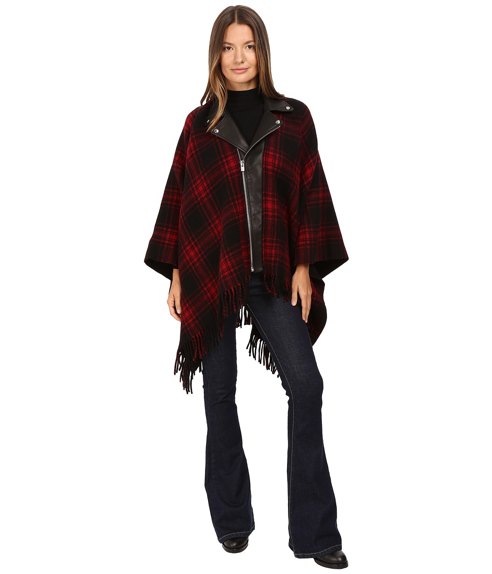 The Kooples - New Wool Poncho with Perfecto Leather Collar (Black 1) Scarves