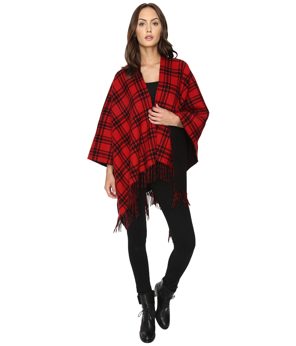 The Kooples - Double-Sided Wool Check Poncho with Black Lining (Red) Women's Short Sleeve Pullover