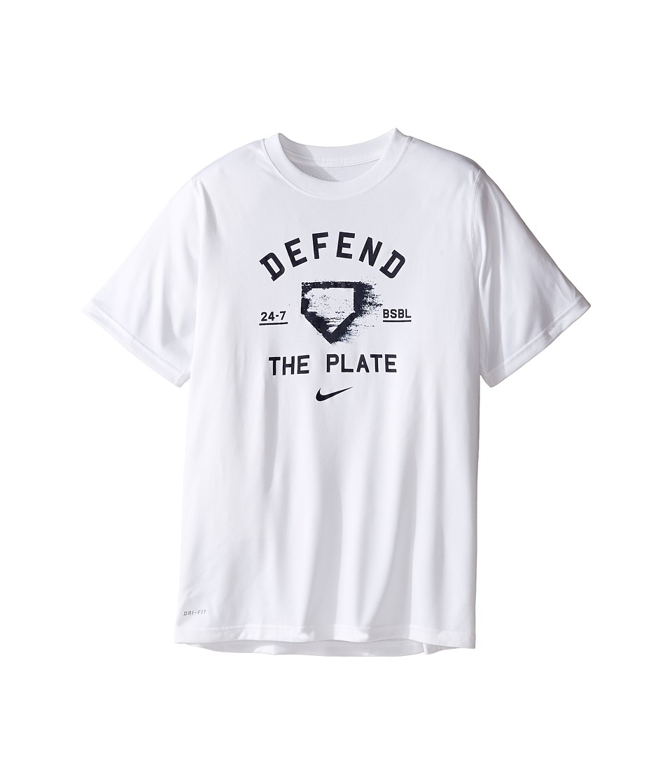 Nike Kids - Legend Defend The Plate Tee (Little Kids/Big Kids) (White) Boy's T Shirt