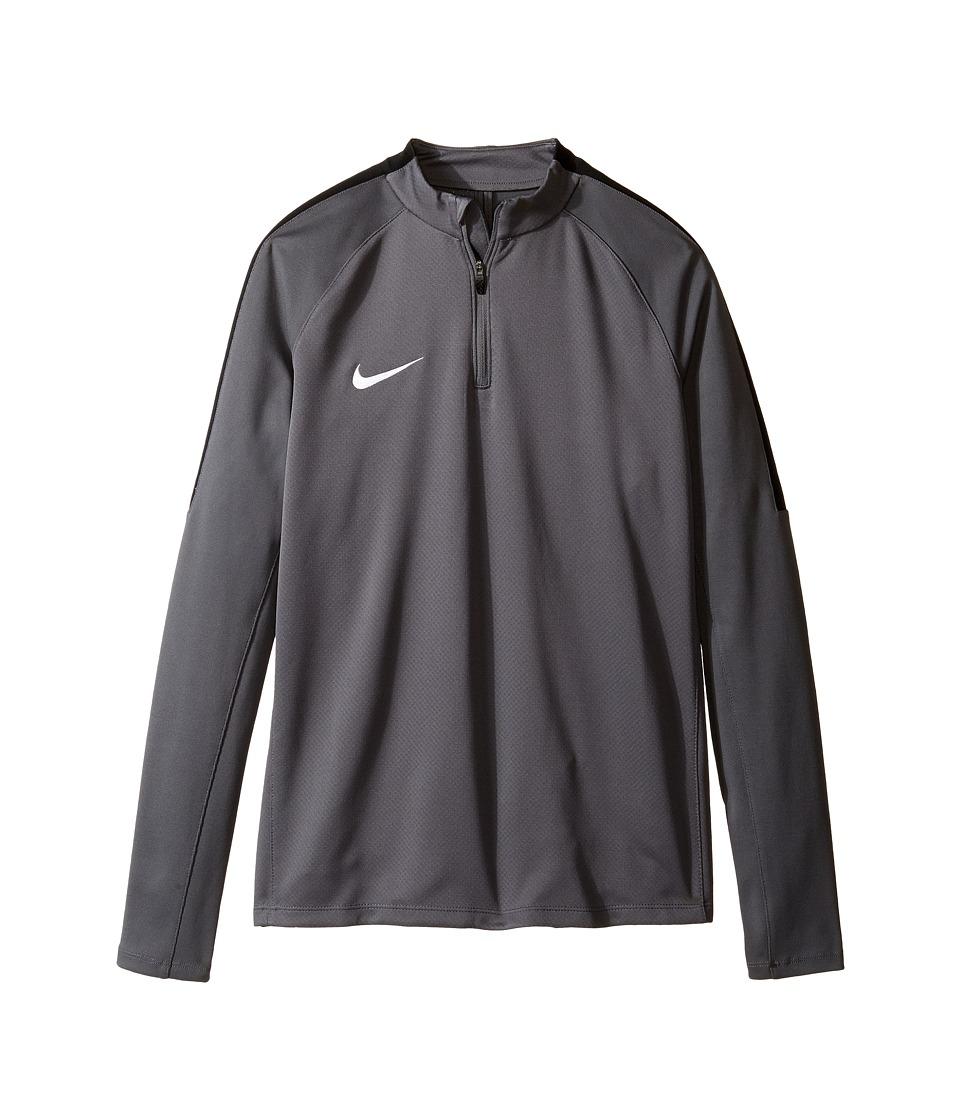 Nike Kids - Squad Long Sleeve 1/4 Zip Soccer Drill Top (Little Kids/Big Kids) (Dark Grey/Black/White) Boy's Clothing
