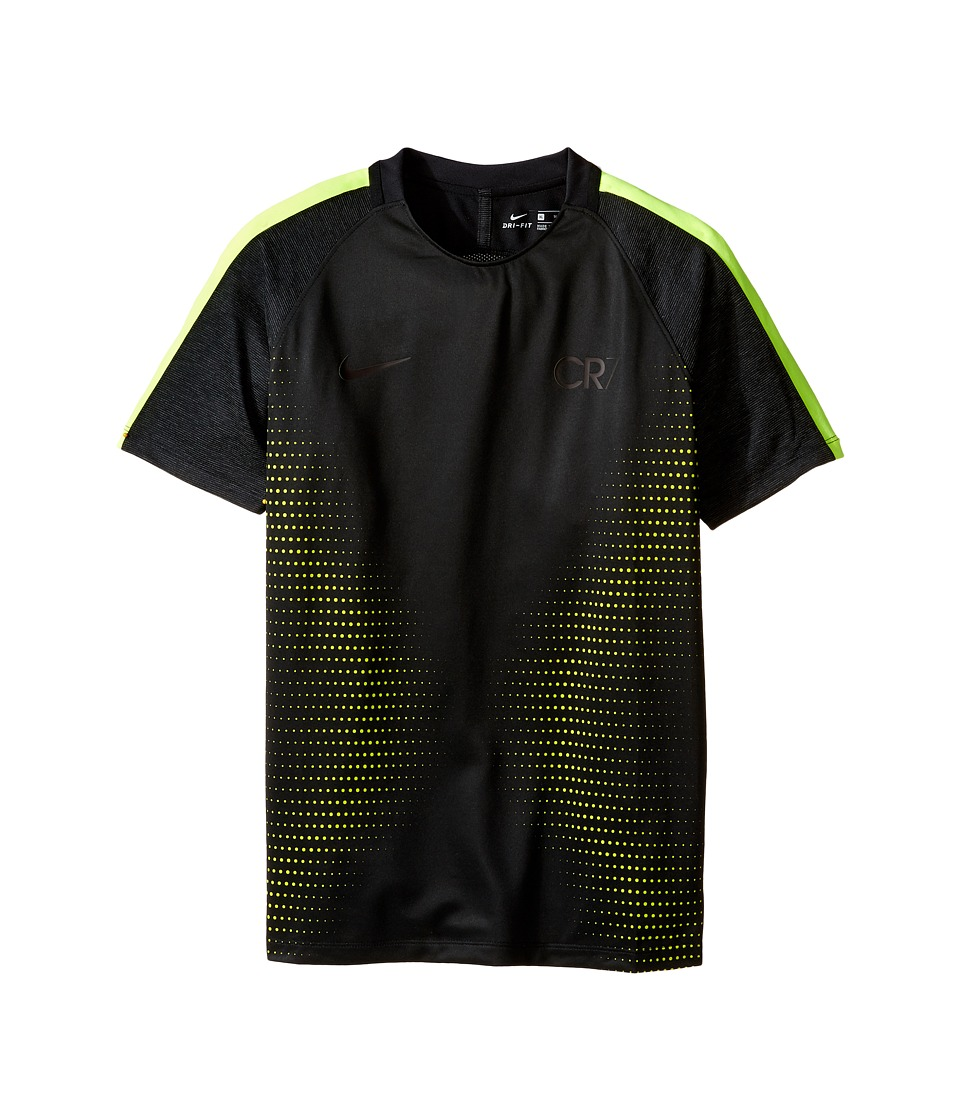 Nike Kids - Dry Squad CR7 Short Sleeve Soccer Top (Little Kids/Big Kids) (Black/Volt/Volt) Boy's Clothing