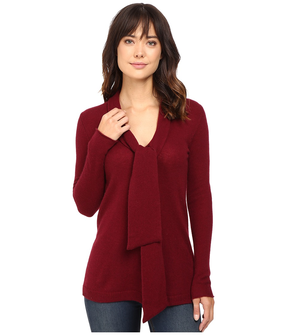 Christin Michaels - Victoria Tie Neck Cashmere Tunic (Burgundy) Women's Blouse