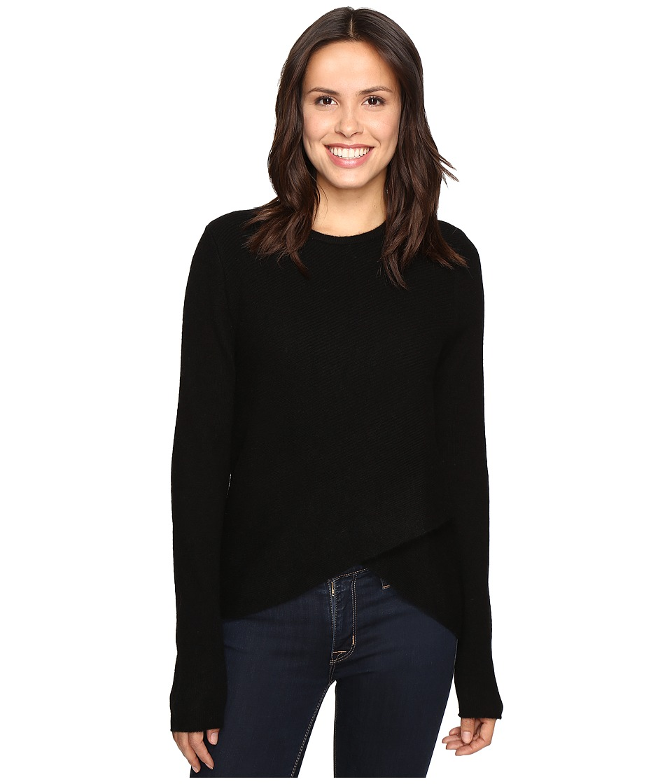 Christin Michaels - Louisa Cross Front Crew Neck Cashmere Sweater (Black) Women's Sweater