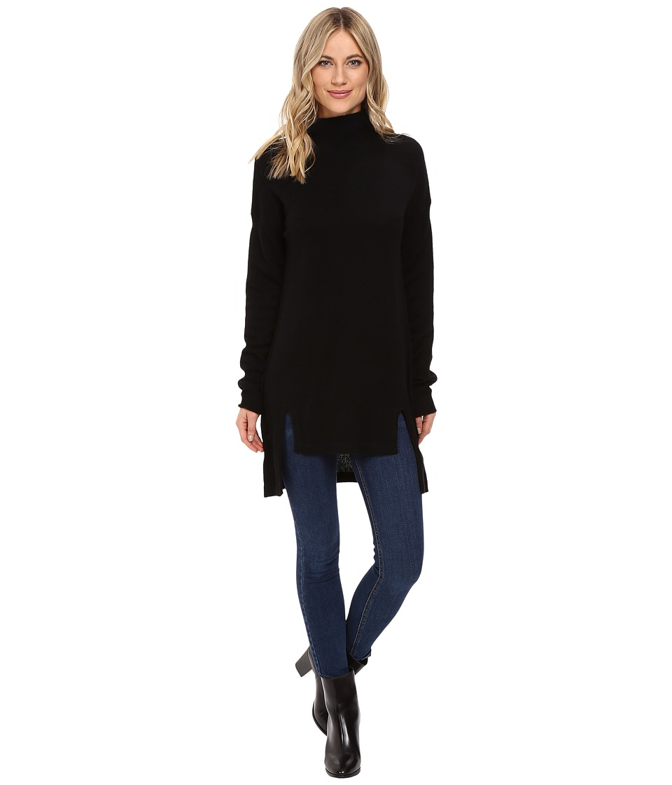 Christin Michaels - Madeline High-Low Turtleneck Cashmere Sweater (Black) Women's Sweater