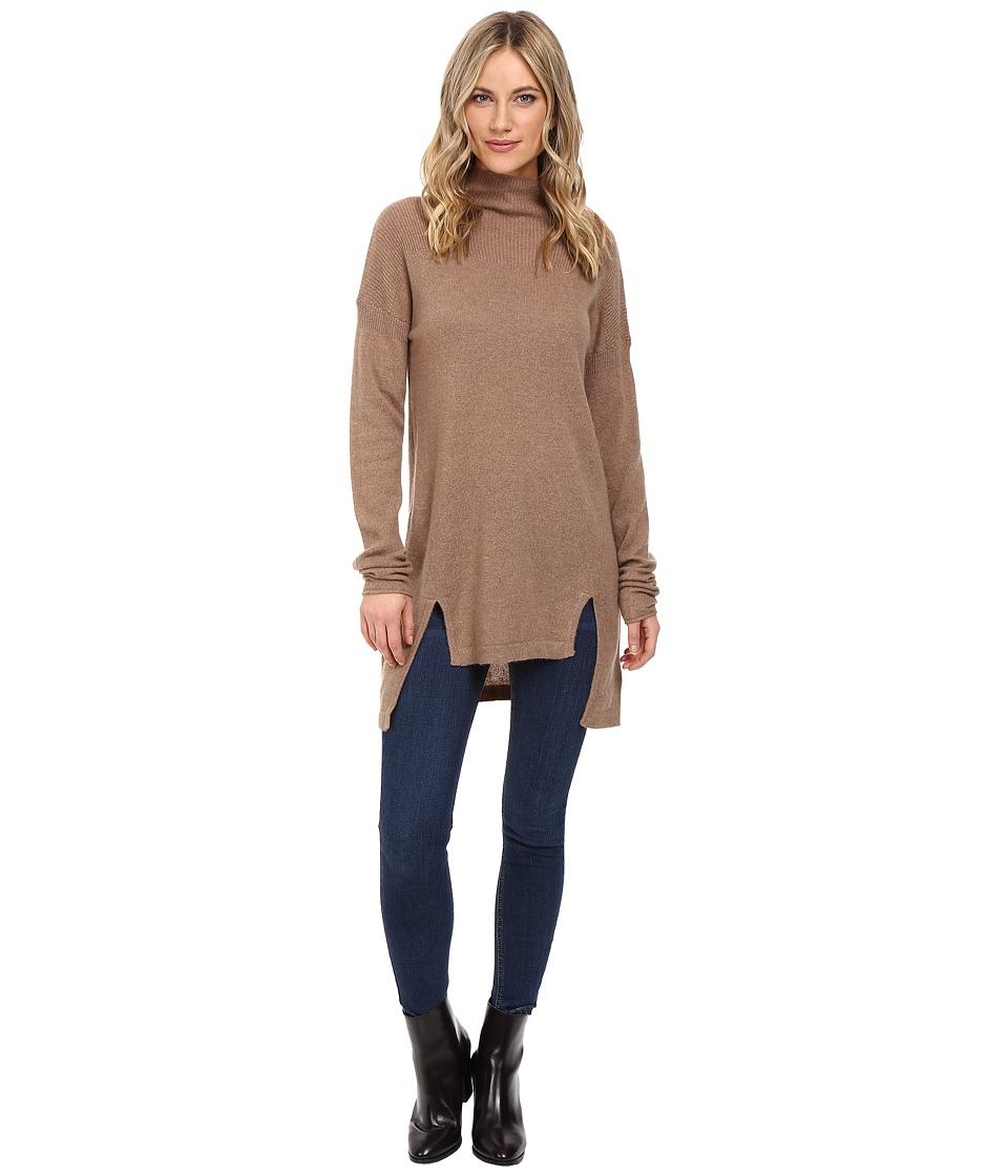 Christin Michaels - Madeline High-Low Turtleneck Cashmere Sweater (Mocha) Women's Sweater