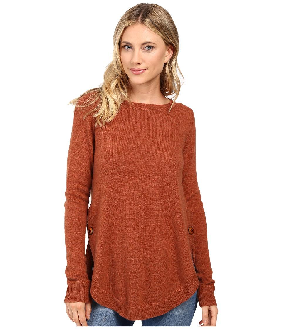 Christin Michaels - Juliet Coverstitch Circle Hem Cashmere Sweater (Terracotta) Women's Sweater