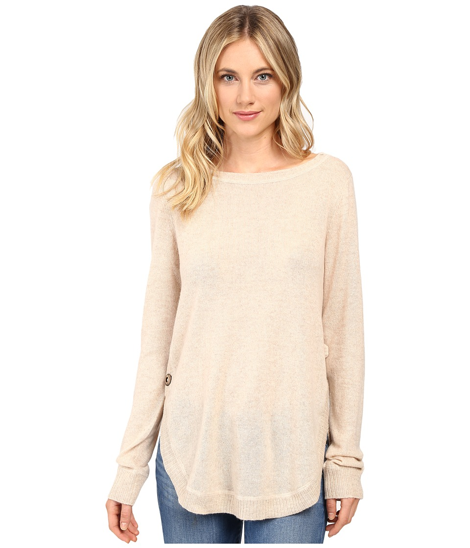 Christin Michaels - Juliet Coverstitch Circle Hem Cashmere Sweater (Wild Oat) Women's Sweater
