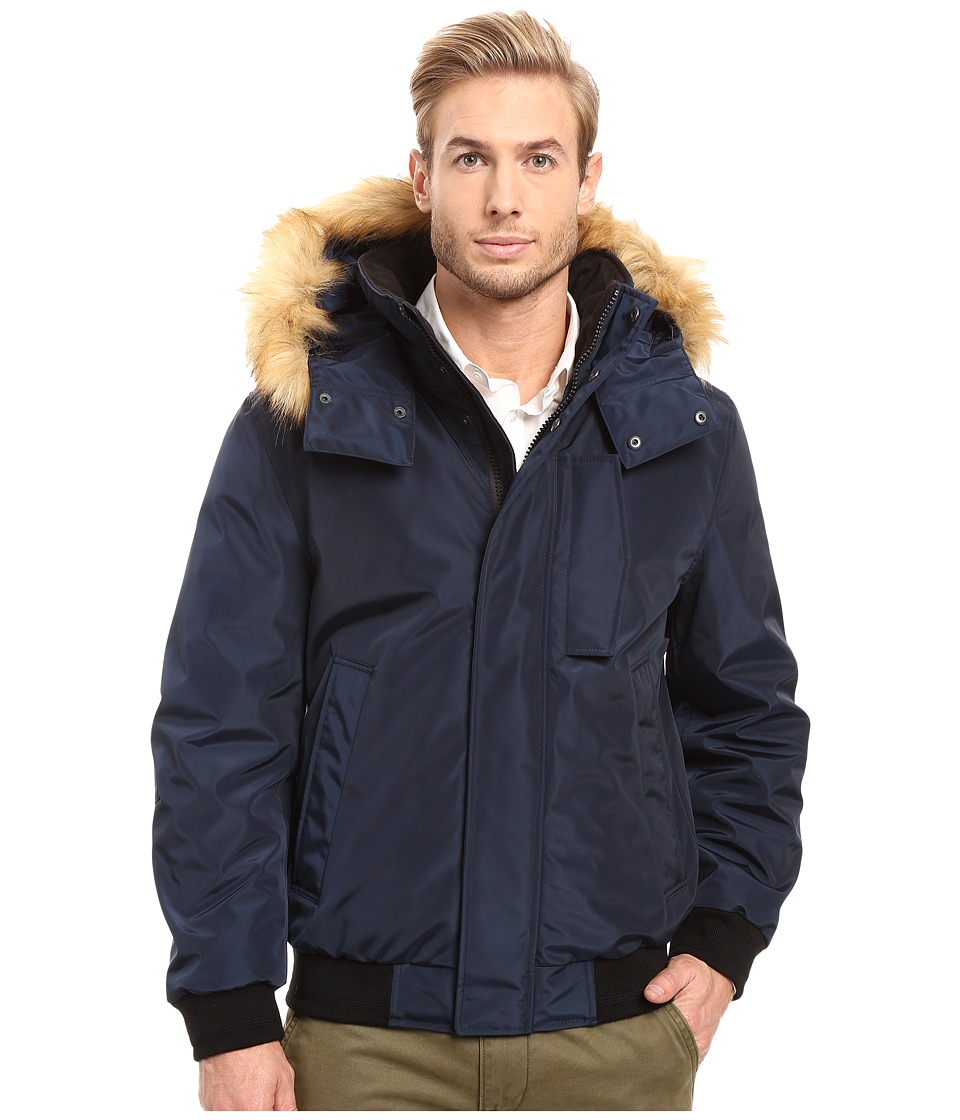 Marc New York by Andrew Marc - Knox Down Bomber w/ Removable Faux Fur Hood (Ink) Men's Coat