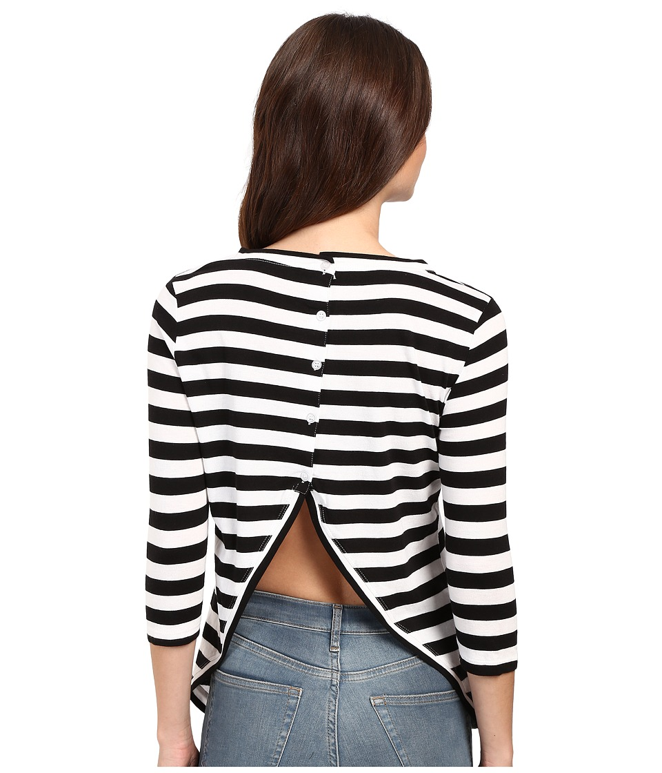 Culture Phit - Beryl 3/4 Sleeve Striped Top with Open Back (Black/White) Women's Clothing