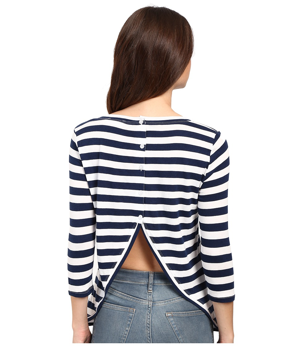 Culture Phit - Beryl 3/4 Sleeve Striped Top with Open Back (Blue/White) Women's Clothing