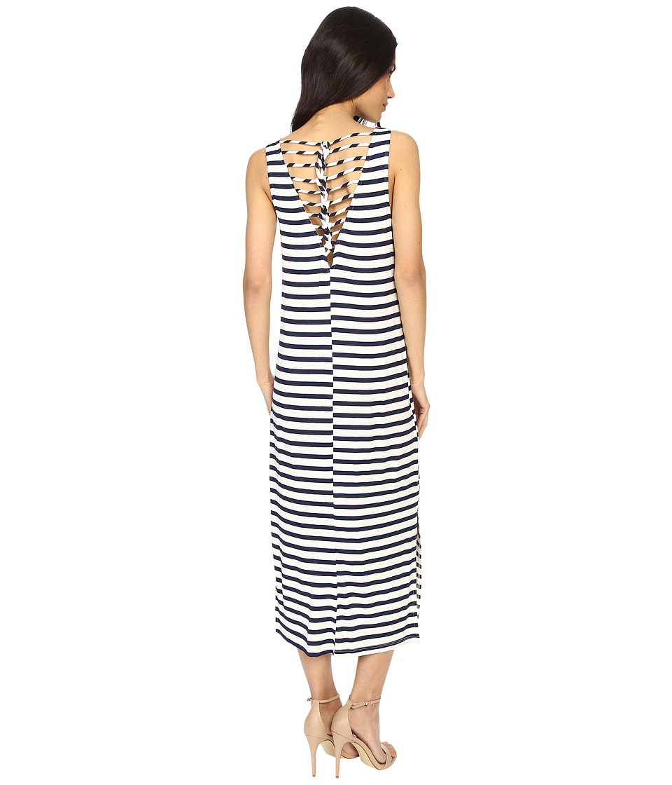Culture Phit - Freya Striped Dress with Back Detail (Navy/Ivory) Women's Dress
