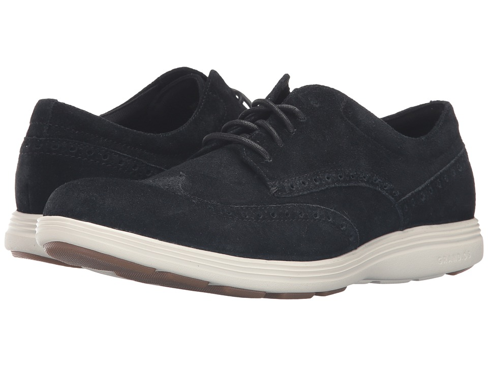 Cole Haan Grand Tour Wing Oxford (Black Suede/Ivory) Men