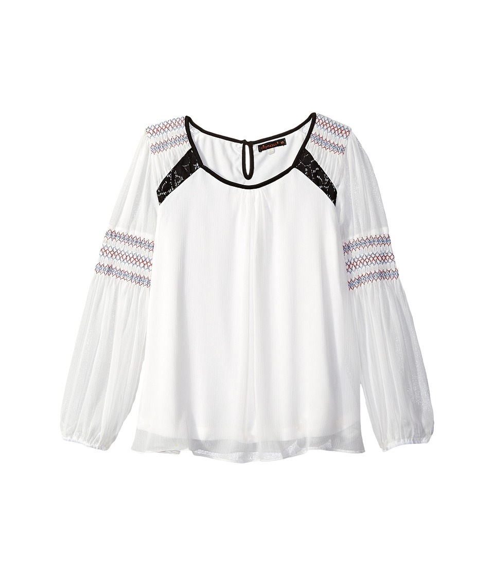 Ella Moss Girl - Mila Long Sleeve Peasant Top (Big Kids) (Off-White) Girl's Clothing