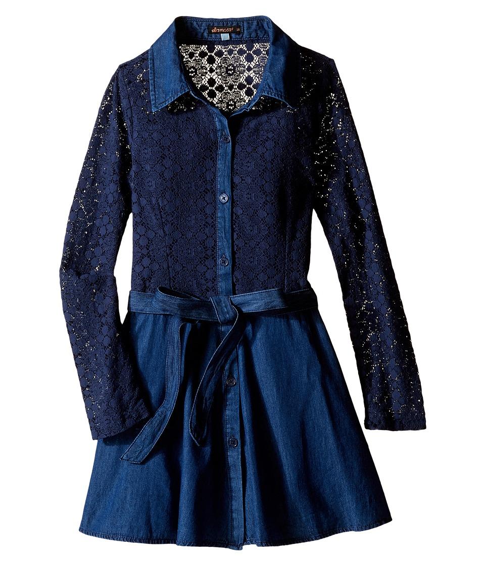 Ella Moss Girl - Crystal Long Sleeve Crochet Lace Dress (Big Kids) (Dark Stone) Girl's Dress