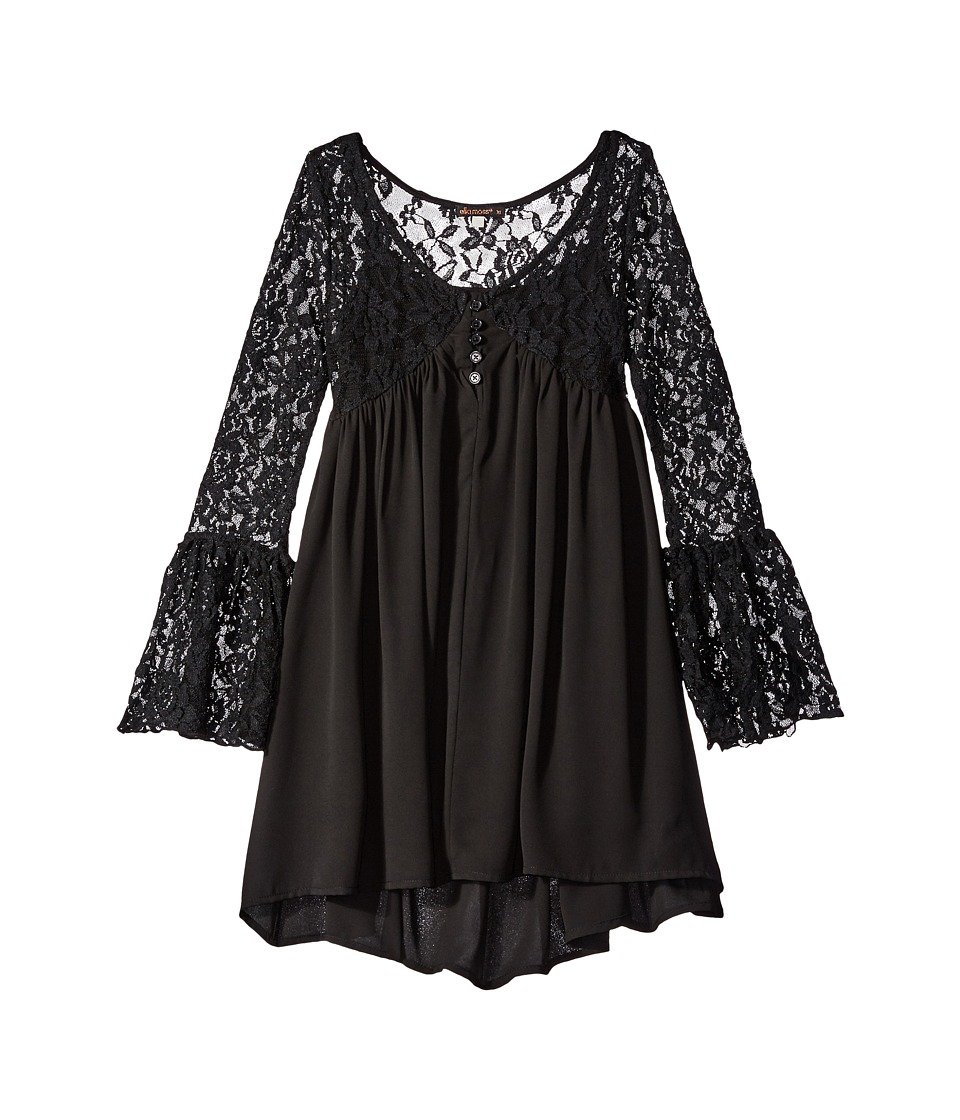 Ella Moss Girl - Shyla Bell Sleeve Dress (Big Kids) (Black) Girl's Dress