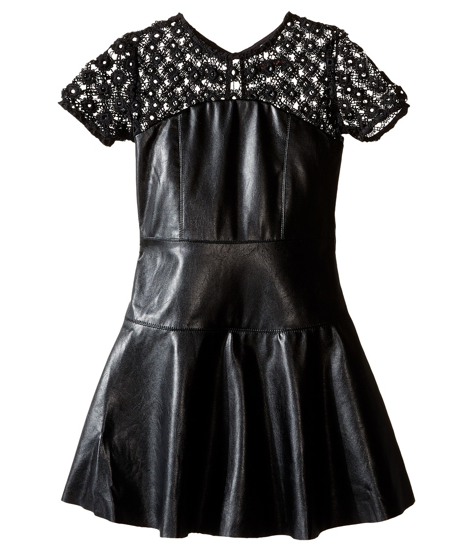 Ella Moss Girl - Mckenzie Faux Leather Dress (Big Kids) (Black) Girl's Dress