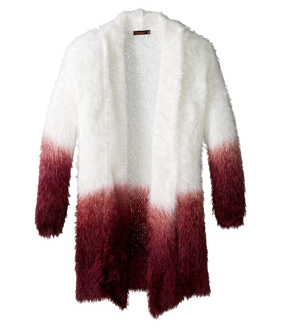 Ella Moss Girl - Suki Dip-Dye Wrap Sweater (Big Kids) (Burgundy) Girl's Sweater