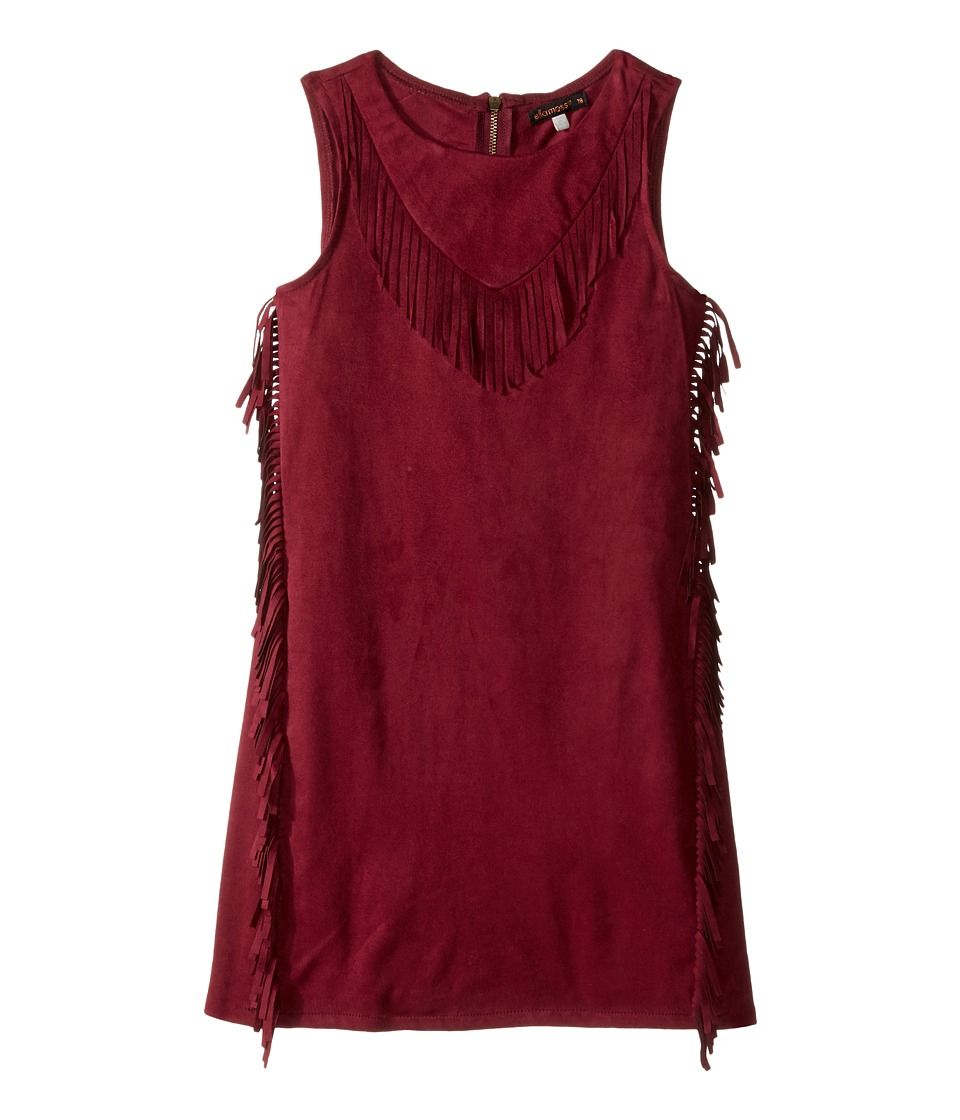 Ella Moss Girl - Cali Suede Fringe Dress (Big Kids) (Burgundy) Girl's Dress