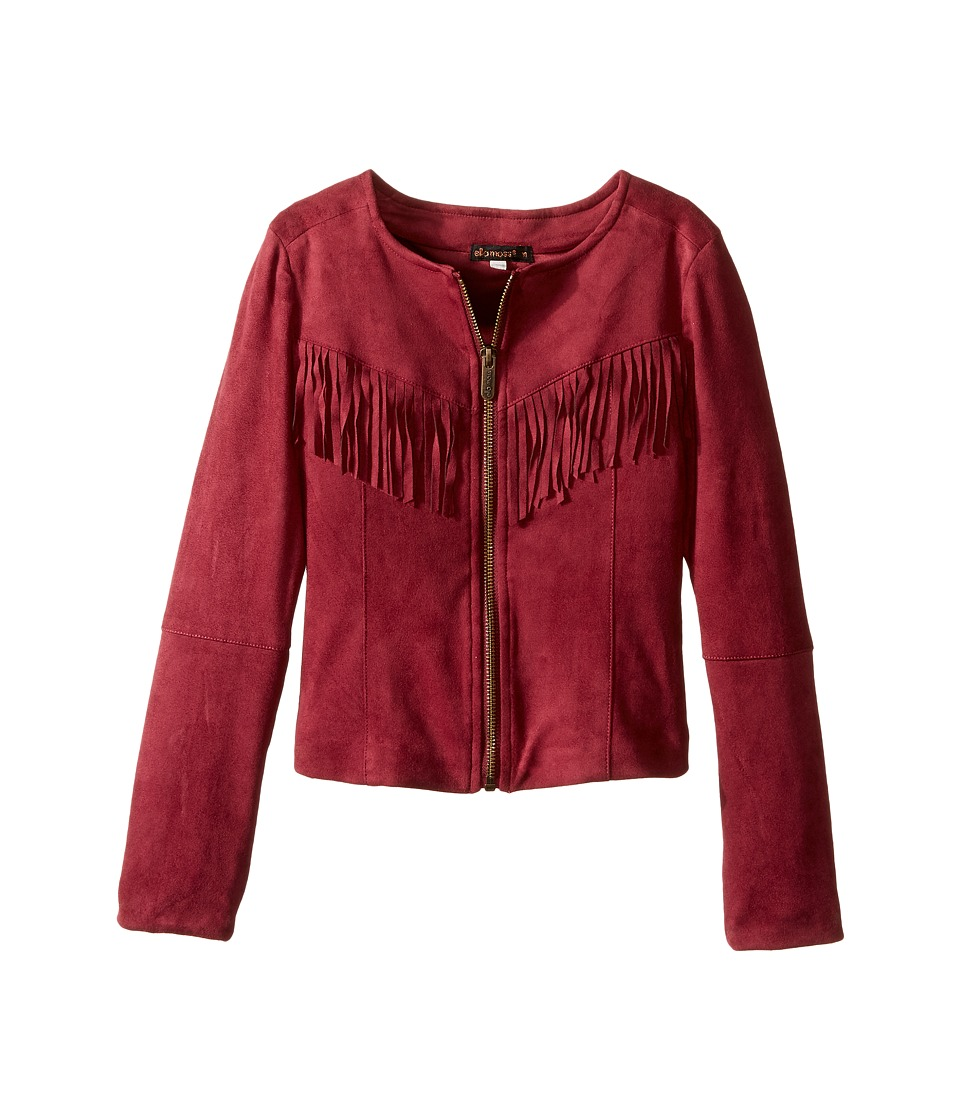 Ella Moss Girl - Cali Suede Fringe Jacket (Big Kids) (Burgundy) Girl's Coat