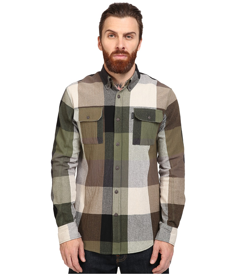 Staple - Apache Check Long Sleeve Woven (Olive) Men's Clothing