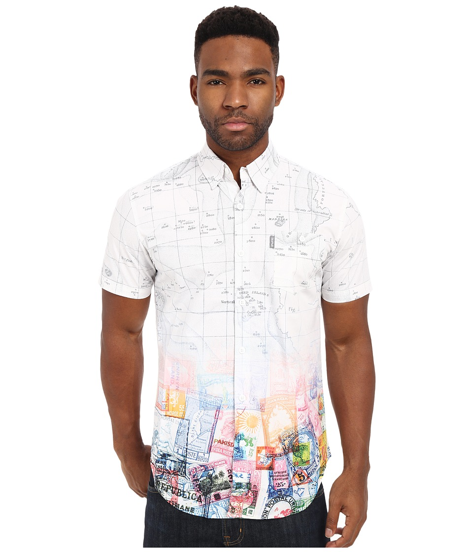 Staple - Map Short Sleeve Woven (White) Men's Short Sleeve Button Up