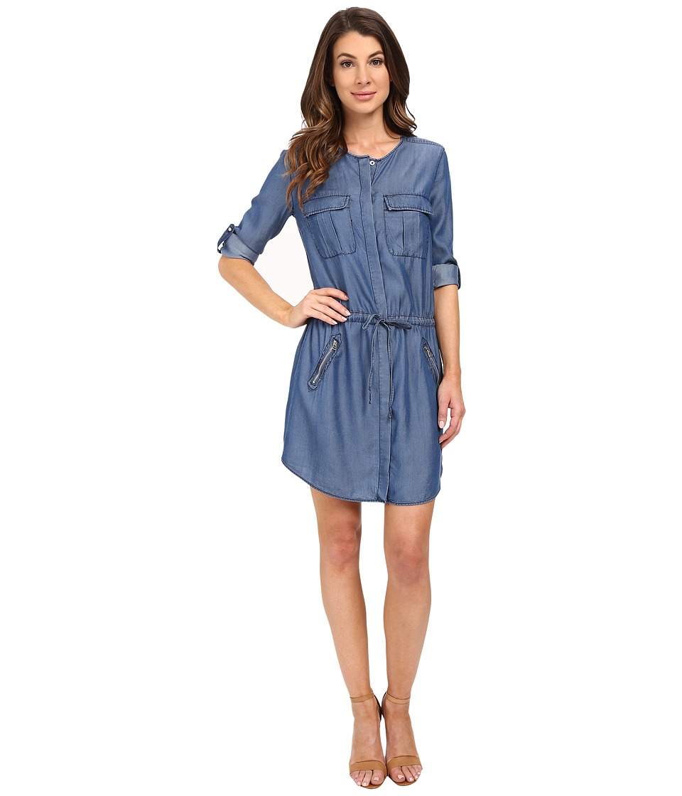 KUT from the Kloth - Aubrey Roll Tab Chambray Dress (Dark Blue) Women's Dress