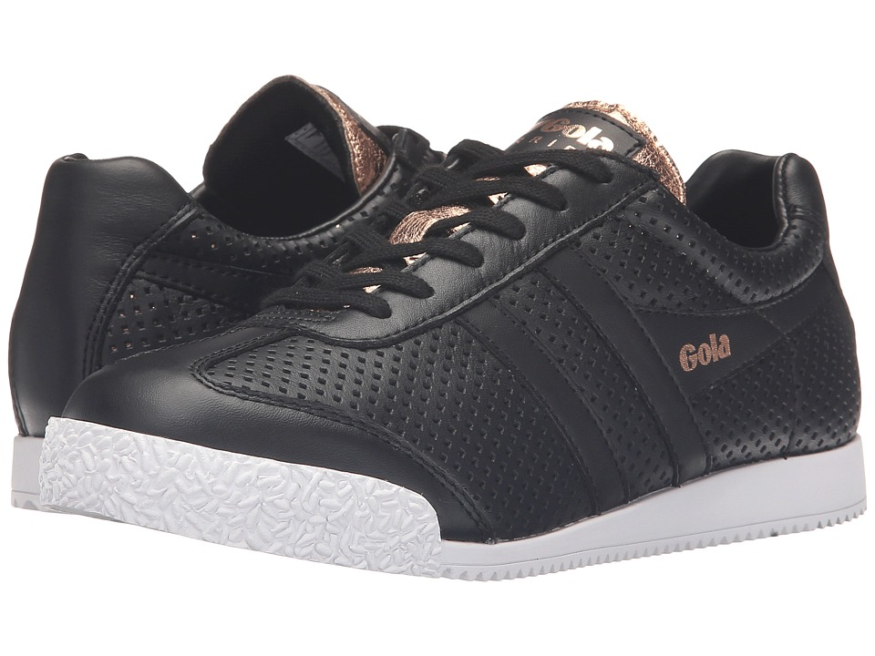 Gola - Harrier Glimmer Leather (Black/Rose Gold) Women's Shoes