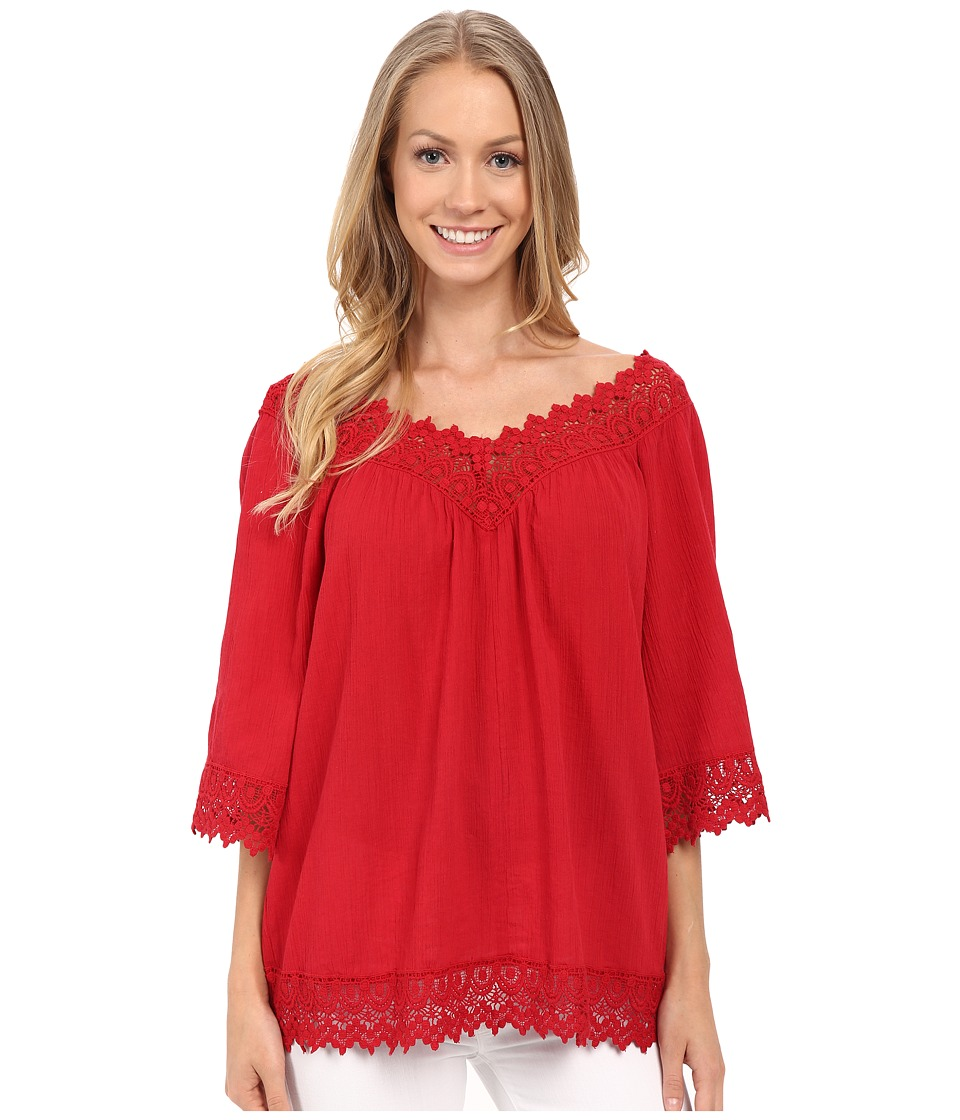 KUT from the Kloth - Ava Woven V-Neck Top (Red) Women's Clothing