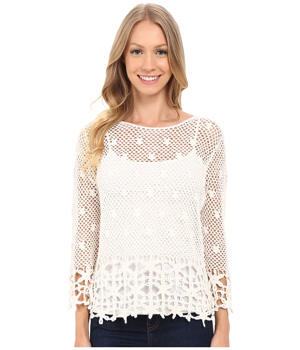 KUT from the Kloth - Lola 3/4 Sleeve Crochet Sweater (Ivory) Women's Sweater
