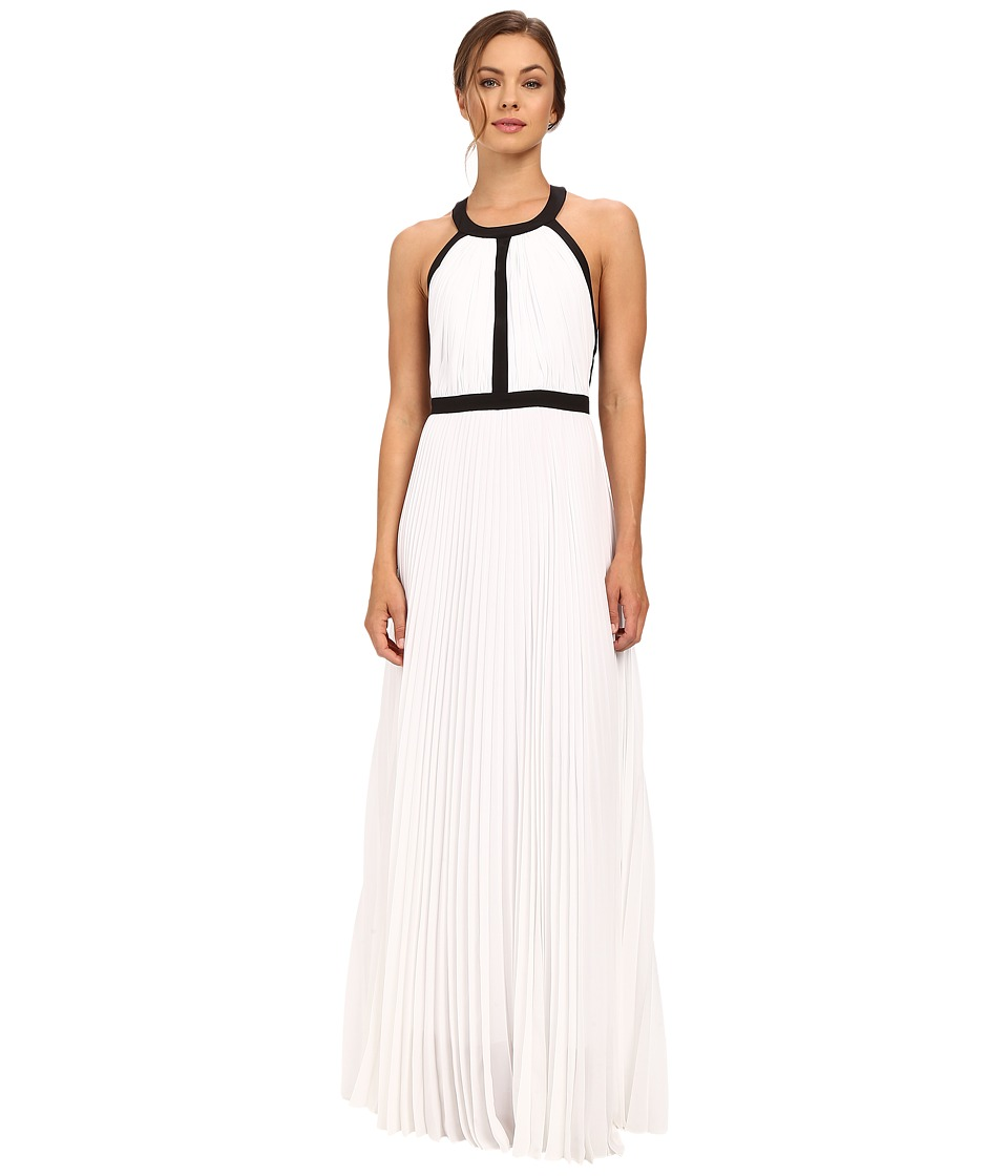 Nicole Miller Gladiator Combo Silk Gown (White/Black) Women