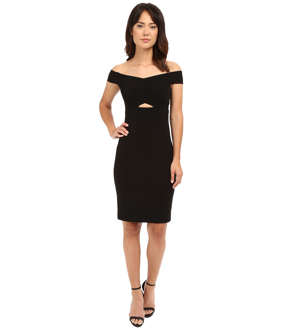 Nicole Miller - Jasey Off the Shoulder Peekaboo Party Dress (Black) Women's Dress