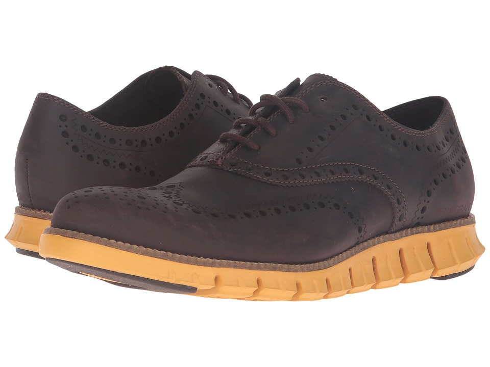 Cole Haan - Zerogrand Wing Oxford (Java Leather/Golden Yellow) Men's Lace up casual Shoes