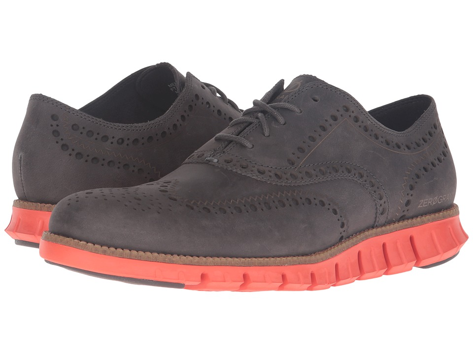 Cole Haan - Zerogrand Wing Oxford (Pavement Leather/Spicy Orange) Men's Lace up casual Shoes