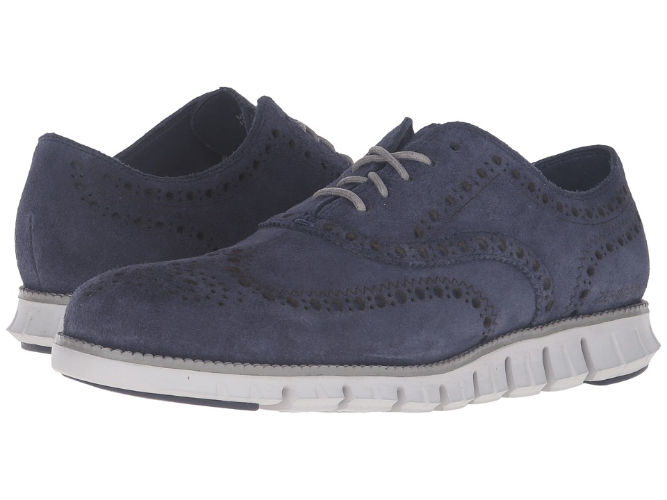 Cole Haan - Zerogrand Wing Oxford (Marine Blue Suede/Vapor Grey) Men's Lace up casual Shoes
