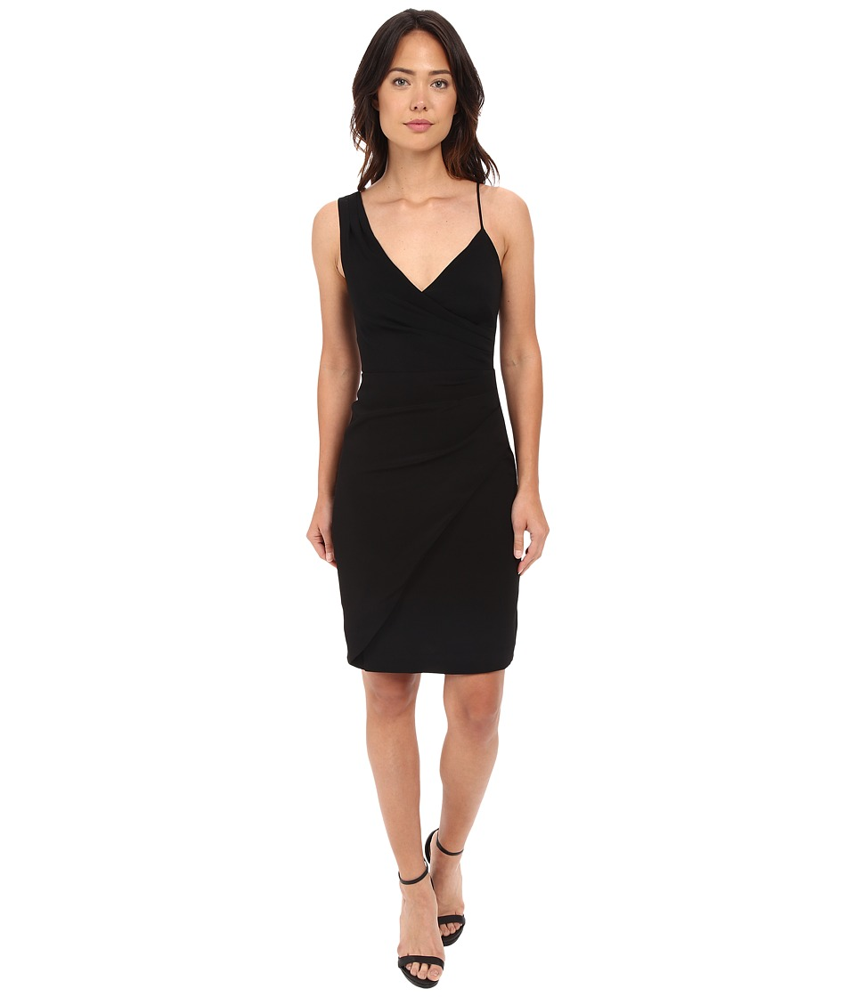 Nicole Miller - Satin Back Asymmetrical Cocktail Dress (Black) Women's Dress