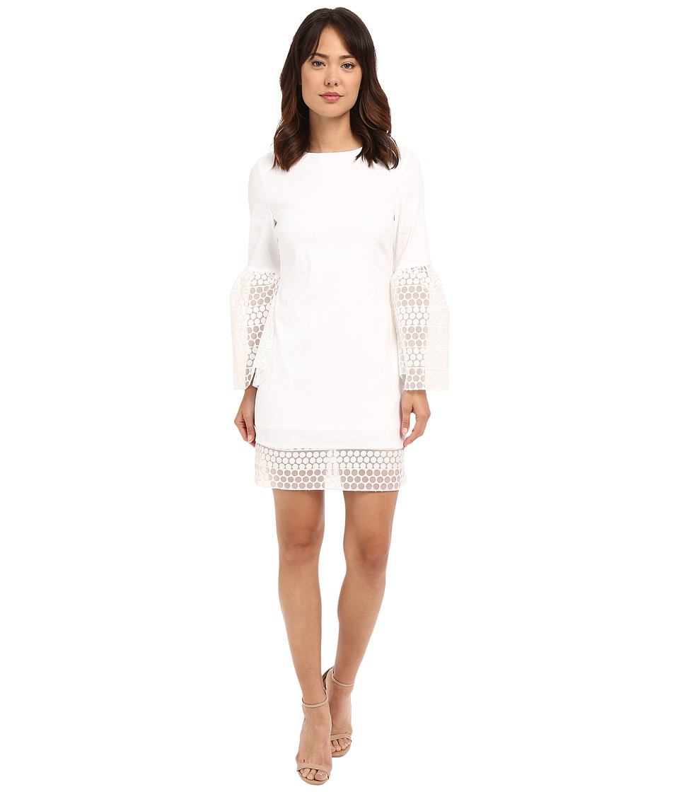 Nicole Miller - Organza Sticker Dot Bell Sleeve Dress (White) Women's Dress